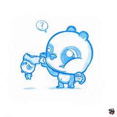 Oi! My Chicken! (PodgyPanda) Tags: chicken sketch panda eat nom bluepencil colerase podgypanda