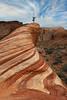 Vrksasana (Lee Sie) Tags: sky valleyoffire rock yoga stone clouds swirls treepose