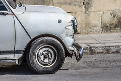Beat up Mini (Jarod Carruthers) Tags: up silver austin crashed mini malta beat bashed
