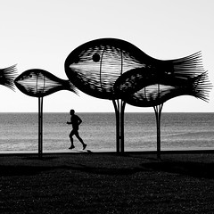 in the air (Thomas Leth-Olsen) Tags: bw sculpture fish art person iron runner poissons runningman cagnessurmer sylvainsubervie lebancdepoissons