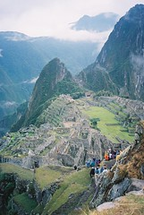 End of the Inca Trail (Worthing Wanderer) Tags: 2003 winter mountains peru southamerica inca cuzco walk trail andes intrepid machupicchu sacredvalley incatrail urubamba