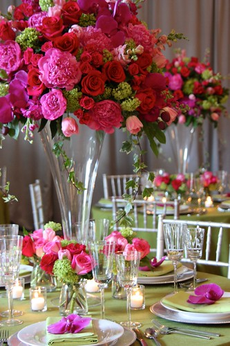 Tall Centerpieces in Pinks and Reds