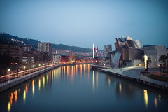 Guggenheim Museum - Bilbao, Euskadi (alex7341) Tags: city bridge blue sunset sky water museum river sundown bilbao timeexposure guggenheim basque euskadi bilbo basquecountry deusto guggenheimmuseum nervin neutraldensity riadebilbao