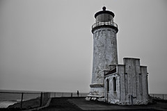 Back in Time (alexhlckey) Tags: ocean light bw usa lighthouse white house black canon vintage rebel washington aperture nw pacific northwest head north arts maritime definition western wa andorra ilwaco photomatix flickrfriday t4i flickrawards