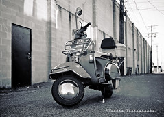 Alleyway Vespa () Tags: city classic metal grit real photo cool italian alley european vespa angle image picture style scooter gritty neighborhood chrome photograph alleyway motorcycle local pseries p125x