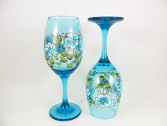 Wine Glasses Hand Painted Aqua Blue Copper (Painting by Elaine) Tags: flowers blue glass glasses aqua wine painted handpainted copper etsy wineglasses glassware stemware paintedglass blueflowers aquablue handpaintedglass handpaintedglassware handpaintedglasses paintedwineglasses handpaintedwineglasses paintingbyelaine wineglasseshandpainted