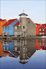 Coloured houses (leerjp) Tags: holland color colour netherlands architecture nederland groningen reflexions architectuur reitdiep weerspiegeling gekleurd ferlection
