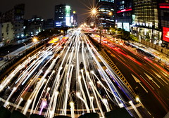Twilight Traffic in Taipei, Taiwan (Greg - AdventuresofaGoodMan.com) Tags: road street city longexposure nightphotography urban night taiwan headlights taipei lighttrails carlights stoppedtraffic qsquaremall