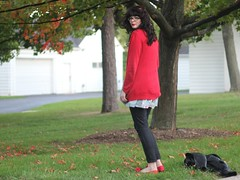 The Clock Ticks On (Katie Burry) Tags: girl outfit dress jeans cardigan balletflats modcloth