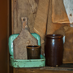 metal 1 (IndyEnigma) Tags: old metal jar antiques crock cuttingboard theshepherdsdaughter