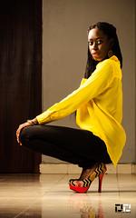 Corridor Yellow (DextDee) Tags: africa lighting portrait sexy fashion 35mm private grid model nikon dress legs african ghana heels braids dd softbox strobe accra ltc strobist sb900 d7000 dextdee thamira
