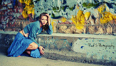 Cinderella (Red 5 Photography) Tags: blue woman girl fashion yellow wall catchycolors outdoors graffiti costume colorado hand legs fierce tunnel skirt artsy shandra fanart brickwall barefoot blonde coloradosprings barefeet femalemodel cinderella crouch fashionmodel creativepose colroful handpose outdoorphotography blueoutfit outdoorshoot conceptphoto shirtblue girlinlongskirt crouchingpose bentpose red5photography beautifuldistractions