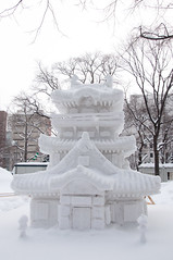 Sculpture of  a japanese temple (Shinto), Sapporo Snow Festival 2013 (littleflag106) Tags: park city blue winter sky sculpture white snow monument nature statue japan sapporo hokkaido multicolored shinto shintoshrine clearsky snowfestival icesculpture sapporosnowfestival japanesetemple traditionalfestival odoripark buildingexterior holidaysandcelebrations builtstructure travellocations gettyimagesjapan13q2