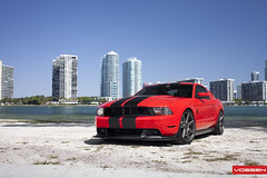 Ford Mustang - CV7 (VossenWheels) Tags: red beach key miami wheels deep american mustang graphite matte concave biscayne monoblock vossen deeo cv7
