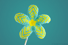 Hawaiian Plumeria Beaded Flower with Chevrons - aqua and yellow (heartinhawaii) Tags: white flower whiteflower plumeria handmade sparkly beaded beadwork tropicalflower bobbypin hawaiianflower beadedflower beadwoven hawaiianhairaccessory beadedplumeria