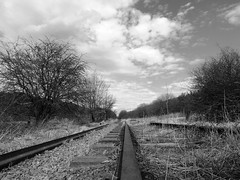 Dis-used (Lee M Wyatt) Tags: old white black abandoned monochrome industrial railway pit summit disused ashfield kirkby