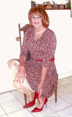 Red/White Dress (bobbievnc) Tags: tv highheels dress legs cd tgirl short redhair pantyhose crossdresser nylons shemale tanpantyhose
