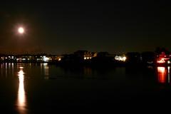 Moonrise over Chincoteague from bridge (DieselDucy) Tags: bridge chincoteague chincoteagueisland moonrise timedexposure