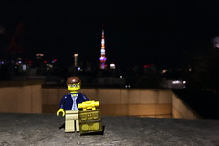 Travels of badger - Tokyo Tower from Roppongi Hill (enigmabadger) Tags: brickarms lego custom minifig minifigure fig accessory accessories japan asia vacation trip travel outdoors japanese