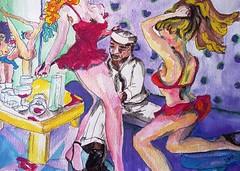 2016_001WC_2_GOOD TIME GIRLS (jaimsart) Tags: original art watercolour painting jaimsart saatchi saatchiart girls women erotic sexy strippers stripping sailor stripclub bar dance dancing red cerise hair long wine purple yellow seaman