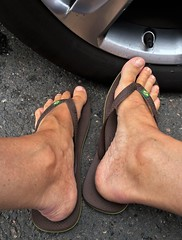 At the Car Wash 2. (silvpix) Tags: barefoot havaianas flipflops tanned feet
