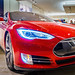 Red Tesla Model S70 electric car