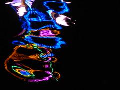 Explosion of colors - Reflexion im Main, Michaelismesse in Miltenberg 2016 (zikade) Tags: reflexionen licht farbigeslicht farben gelb orange feuer main miltenberg odenwald kirmes blau trkis grn wasser spiegelung volksfest michaelismesse 2016