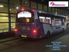 FIRST WORCESTERSHIRE MIDLAND RED WRIGHT STREETLITE SN64 CFP WORCESTER CROWNGATE BUS STATION 08092016 (MATT WILLIS VIDEO PRODUCTIONS) Tags: first worcestershire midland red wright streetlite sn64 cfp worcester crowngate bus station 08092016