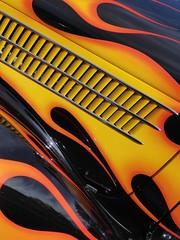 Wheaton, IL, Cantigny Park, Classic Car Show, Cobra Hood Art (Mary Warren (7.3+ Million Views)) Tags: wheatonil cantignypark classiccars cars art abstract yellow orange chrome curves diagonals flames