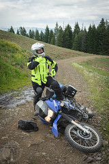 Agony of defeat (Trail Image) Tags: oregon ben gesturing motorcycle badmemory kawasakiklr650