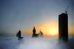 #850D5256 - Sunrise on fogs (crimsonbelt) Tags: sunrise fog dubai cityscape nature variosonnart281635 sony za sal1635f28za