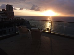View from balcony, Maison Lisbona, Bat Yam (4) (dlisbona) Tags: sunset sea vacation holiday vacances soleil israel telaviv sonnenuntergang view apartment flat rental location appartement luxury seaview  coucherdusoleil batyam louer apartement sejour