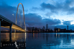 MHH Blues 2 (Gecko Art) Tags: city bridge water skyline architecture clouds sunrise dallas texas flood dfw architects santiagocalatrava trinityriver margarethunthill