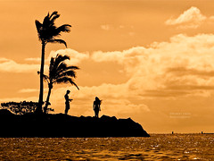 Be Mine? (RobertCross1 (off and on)) Tags: boy love beach water girl silhouette clouds hawaii warm waves oahu valentine palmtrees honolulu omd kahala 1250mmf3563mzuiko