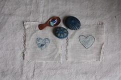 heart threads (knitalatte11) Tags: thread hearts linen indigo meditation handwork handstitched handdyed naturaldyeing mindwanderings