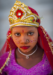 Young Girl With Make Up, Maha Kumbh Mela, Allahabad, India (Eric Lafforgue) Tags: india festival vertical outdoors photography wo