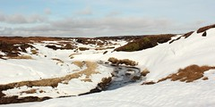 Kinder Scout In Winters Icy Grip (Derbyshire Harrier) Tags: kinder edale derbyshire winter 2013 cropped moorland snow darkpeak peakdistrict drifts ice kinderriver kinderscout