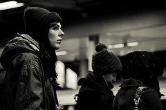 Wonderland (Sven Loach) Tags: uk winter portrait england bw cinema cold london station nikon waiting britain candid hats streetphotography passenger coats wonderland overground reportage highburyislington ginamckee winterbottom d5100