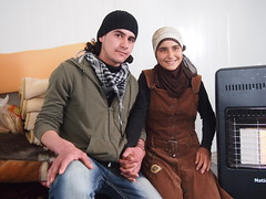 Engaged in a Syrian refugee camp: Aya and Mohammed (Oxfam International) Tags: love engagement refugees jordan syria valentinesday oxfam refugeecamp