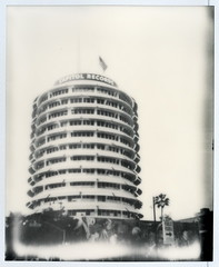 Capitol Records (tobysx70) Tags: california ca street old toby bw usa white black records building tree tower film sepia skyscraper silver project stars polaroid la us office los cool bars mural angeles glory stripes flag vine palm stack system capitol tip shade 600 hollywood highrise record 1200 hancock spectra impossible pz the theimpossibleproject tobyhancock impossaroid