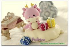 Lovely dragon birthday cake topper^^ (charles fukuyama) Tags: dragon sweet handmade anniversary custom sculpted cakedecoration claydoll birthdaycaketopper dragoncaketopper animalscaketopper kikuike