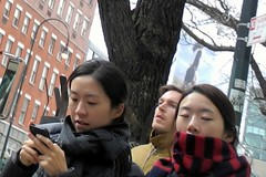 catnap (omoo) Tags: newyorkcity girls chelsea manhattan cellphone streetscene catnap dreamy japanesegirls dreamygirl dscn5554 girlwithclosedeyes girlwithamobilephone 2girlsandguy west14thstreetbetween8thandninthavenues buffaloplaidscarf