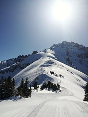 Top of Prospect chair and Black Iron Bowl (Miche & Jon Rousell) Tags: blue trees usa sun snow pine rockies colorado skiing telluride iphone iphonography iphone4s doublediamondblack hiketoterrain