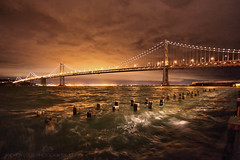 The Storm Awakes  **EXPLORE**  SF Bay Bridge Light Celebration (Andrew Louie Photography) Tags: sf show life california camera bridge autumn winter party storm art love wet coffee colors rain canon reflections lights golden bay march san francisco long artist waves peace leo wind thomas expression 5 hill joy wide martini grand center led celebration explore express create drama today kincaid rincon villareal 2013 glasswipers