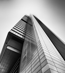 White Point (Jos Garrido) Tags: madrid city longexposure reflection building lines fog architecture skyscraper blackwhite spain normanfoster ctba absolutearchitecture josegarrido cuatrotorresbusinessarea cuatrotorres torrecajamadrid communityofmadrid nikond800 niksilverefexpro nikkorafs1424mmf28ged