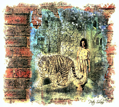 The Wall (Peter Solano. Pursuing a dream!) Tags: old red woman brick texture water wall ancient mural peeling paint tiger reflectionlizard