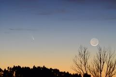 Comet Pan-Starrs & Earthshine Moon_031213 (northern_nights) Tags: 100v10f comet moon twilight sunset dusk sky tree earthshine cometpanstarrs