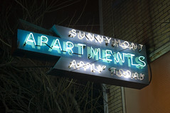Sunnymont Apartments (Curtis Gregory Perry) Tags: sign night oregon portland nikon long exposure neon apartments today apply d300 sunnymont