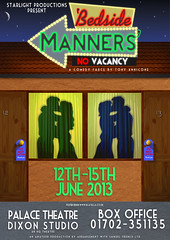 'Bedside Manners' (Blatella Productions) Tags: sky moon sign night photoshop studio poster stars hotel design kissing comedy play graphic theatre stage couples motel palace dixon production googie embrace productions donotdisturb starlight bedsidemanners
