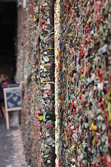 The Infamous Gum Wall (MeredithAmy) Tags: seattle color texture sign wall contrast gum washington theater pattern market bokeh sticky gross chalkboard narrow depth the